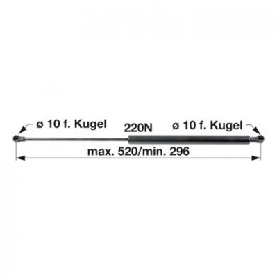 Gasdruckfeder 0.9206.198.4/10 für Frontscheibe zu Deutz - Fahr