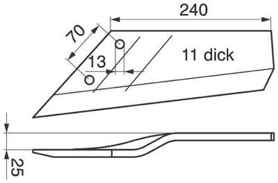Flügelschar 12 mm gekr., links