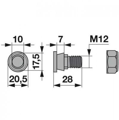 Messerhalteschraube 119.013 komplett zu Pöttinger Scheibenmäher