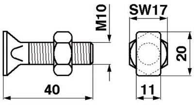 Busatis Rechteckkopfschrauben M 10 x 40 kpl. mit Mutter