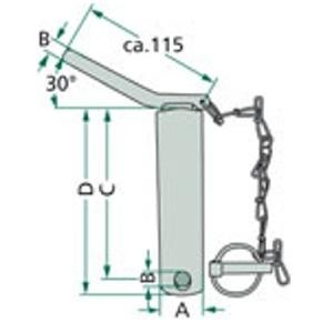 Unterlenkerbolzen Kat 2 125 mm Nutzlänge mit Kette /& Splint 2 Stück Bolzen NEU
