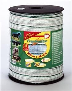 Premium-Weideb., 12,5mm, 200m, weiß/grün, Z-Webbing, verz. Cu