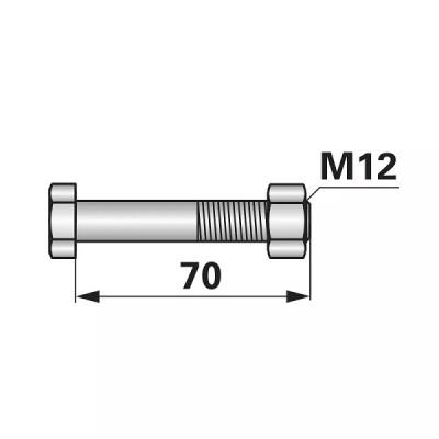 Abscherschraube - M12 x 70 mm - mit Mutter