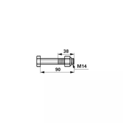 Abscherschraube - M14 x 90 mm - mit Mutter