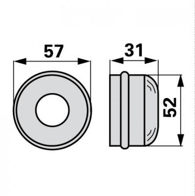 Abschlusskappe für Radnabe mit Bohrung 25 mm