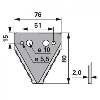 Agria Mähmesserklinge 11 mm links und rechts gezahnt 344.0111