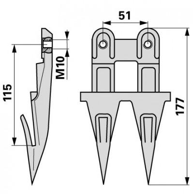 Bucher Doppelfinger für Mittelschnitt H150.115.220