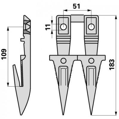 Bucher Doppelfinger mit Fingerplatte H130.200.660