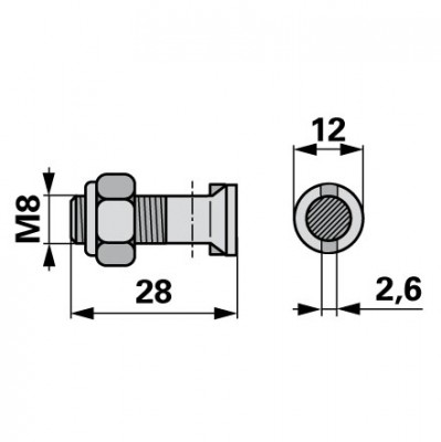 Casorzo Messerkopfschraube M8 x 28, 10 Stück