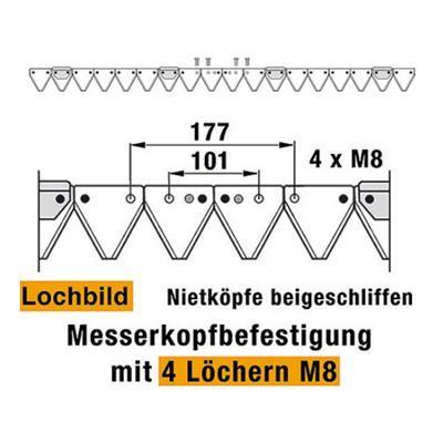 Mähmesser 137 cm Esm 257.0520 mit 18 Klingenspitzen