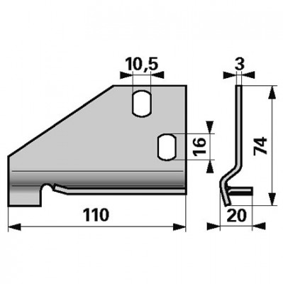 Esm Messerführungsplatte rechts 332.1320