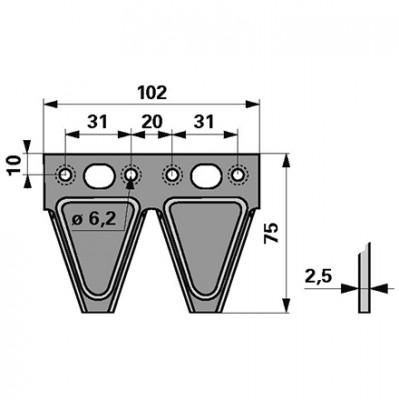 Messerklinge Esm 344.132 Doppelklinge Mittelloch oval