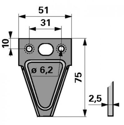 Messerklinge Esm 344.133 Mittelloch oval