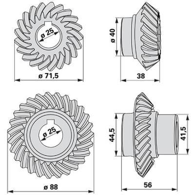 Kegelradsatz 06228344 zu Deutz-Fahr vertikal