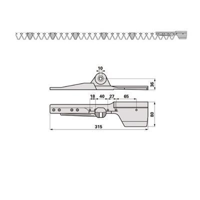 Mähmesser 165 cm Mörtl NY 4 KGR/ 165  mit 28 Klingenspitzen