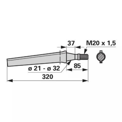 Kreiseleggenzinke gerade, M20x1,5 zu Vogel & Noot