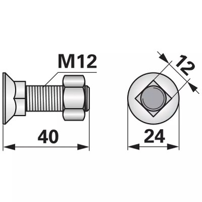 Pflugschraube Vierkant - M12x40 mm - 10 Stück mit Mutter