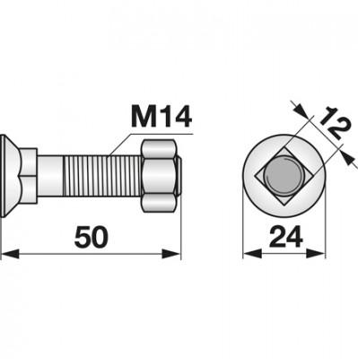 Pflugschraube DIN 608 M14x50