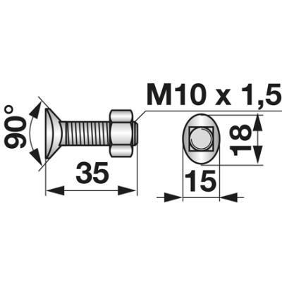 Planetenschraube M10x35 mit Mutter 10 Stück