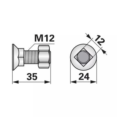 Schraube mit Vierkantansatz - M12x35 mm - 10 Stück