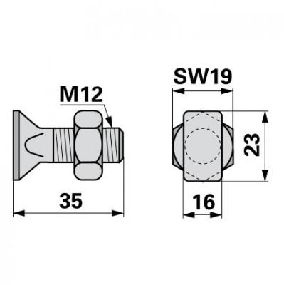 Aebi Schuhschraube M12 x 35