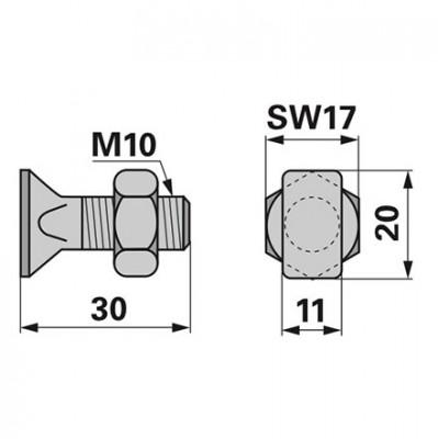 Stockey Schmitz Rechteckkopfschraube komplett M10 x 30
