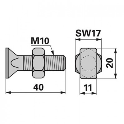 Stockey Schmitz Rechteckkopfschraube komplett M10 x 40