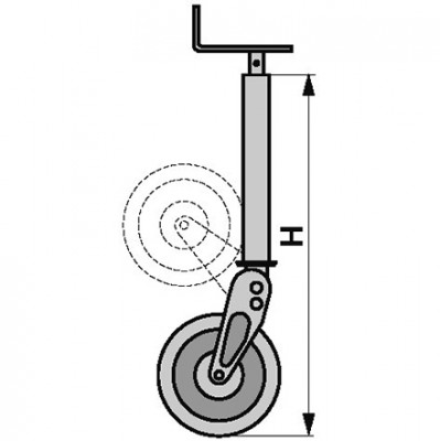 Stützrad klappbar Höhe 960 mm für Anhänger