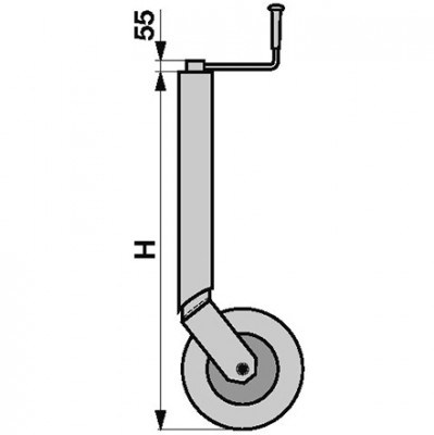 Stützrad starr Höhe 770 mm für Anhänger