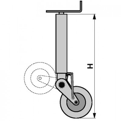 Stützrad klappbar Höhe 690 mm für Anhänger