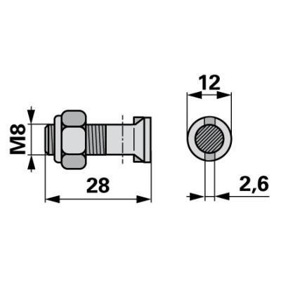 Moty-Mayer  Messerkopfschraube mit Senkkopf u. Nase 10 Stück