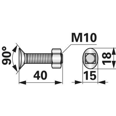 Plantenschraube M10x40 mit Mutter zu Kongskilde 10 Stück