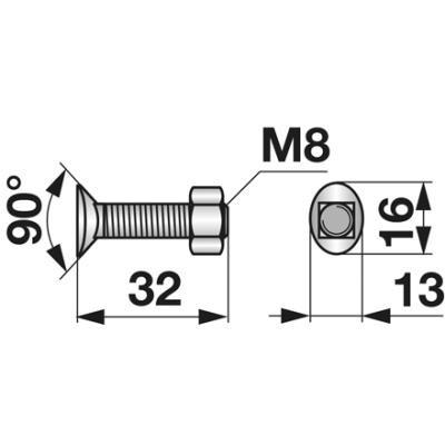 Planetenschraube M8x32 mit Mutter 10 Stück