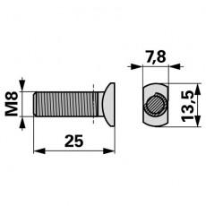 Bucher Messerkopfschraube M8 x 25  33251